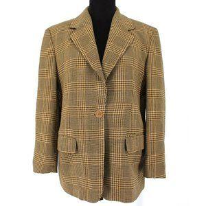 MaxMara Houndstooth Wool 1 btn Blazer Brown/Tan 10